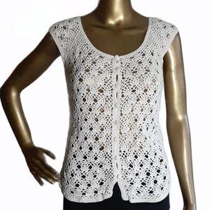 Forever 21 Boho Crochet Button Down Cardigan Top